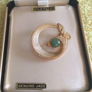 Vintage Brooch with genuine Jade. #133